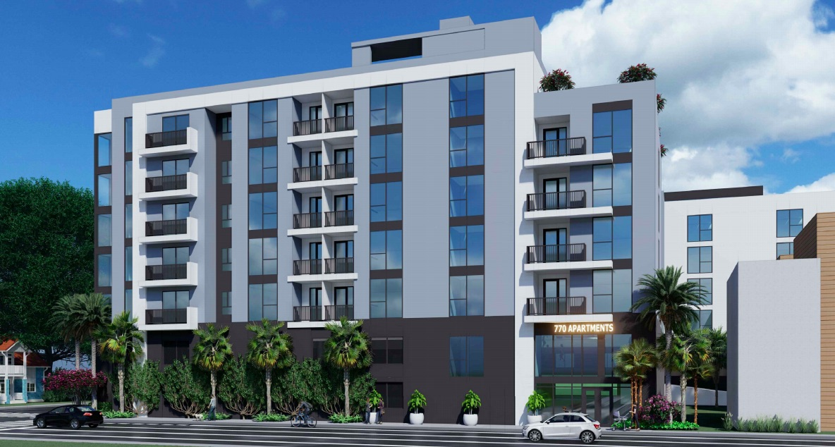 770 Apartments will feature a resident lobby which fronts 8th Street. Additionally, the building will have two floors of parking with 116 spaces.