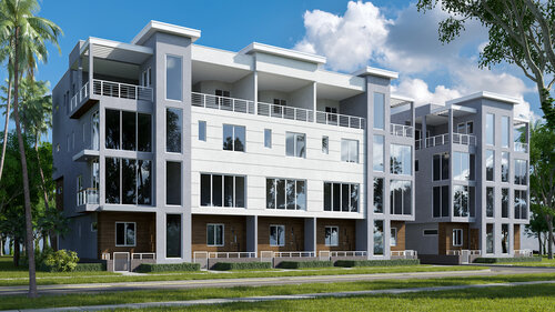 The Royal, a 13-unit project proposed by Salt Palm Development, is being developed across the street.