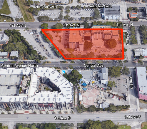 The redevelopment site is situated on the west side of 13th Street between 1st Avenue North and Central Avenue