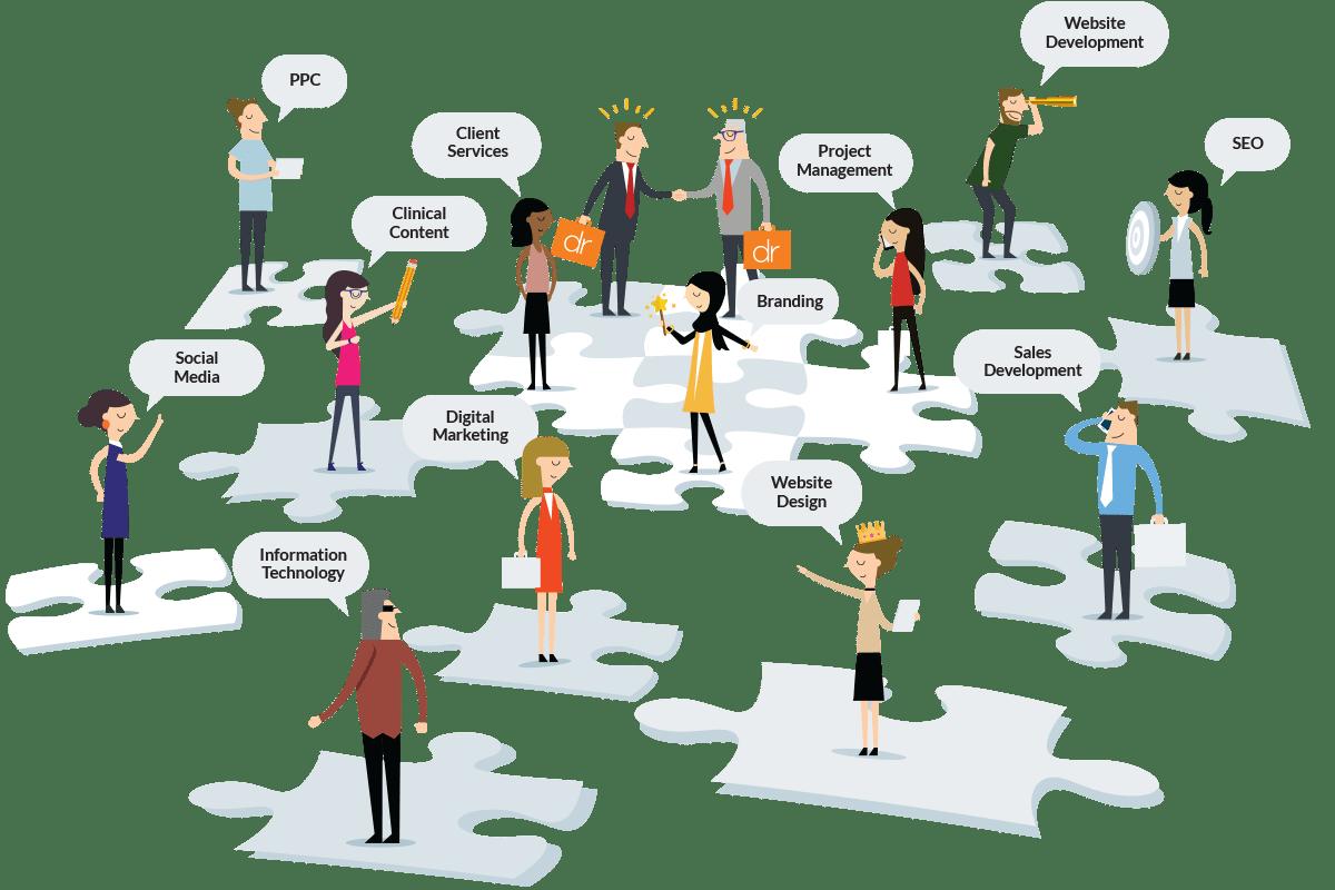 Customized team member illustrations.