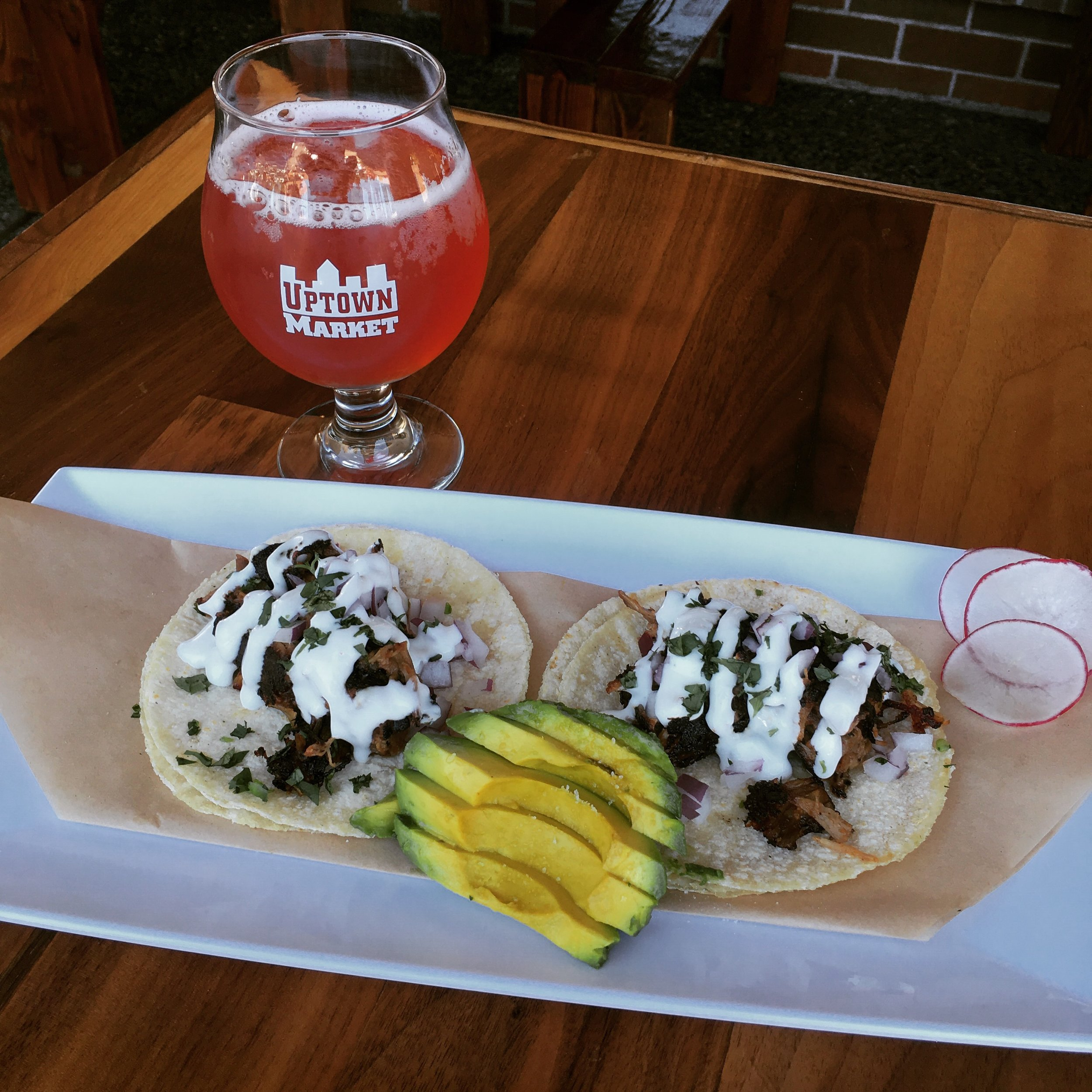 Pork tacos pictured with Lion Heart Kombucha. Makes a great lunch!