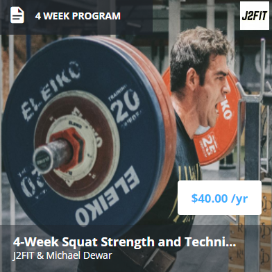 4 Week Squat Bump - This 4-week intensive program includes:- Squat strength (both back and front) emphasis.- Pulling strength (snatch, clean, and general assistance lifts) emphasis.- Daily training of snatch and clean and jerk.- Complete assistance work to increase lean muscle mass.