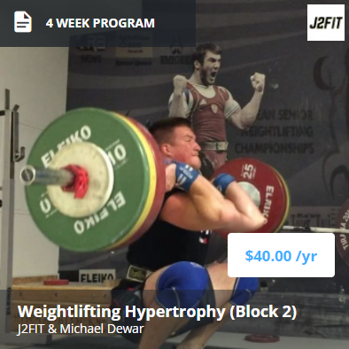 4 Week Off Season Program (Part 2) - This is the second part of a two phase hypertrophy and strength cycle, which includes:- High emphasis on increasing training volume to ensure skill, strength, and increase development in the off season- High emphasis on leg size and strength, specifically in the squats and pulls.- Increased development of Olympic lifts in the moderate to heavy intensity ranges for higher volume.- Heavy weekly max outs on Olympic lifts and squats in later weeks to build towards a competition prep cycle or another test out.