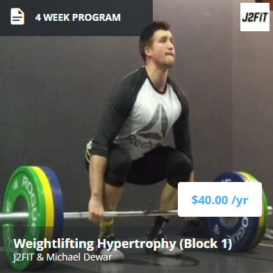 4 Week Off Season Program (Part 1) - This is the first part of a two phase hypertrophy and strength cycle, which includes:- High emphasis on increasing training volume to ensure skill, strength, and increase development in the off season- High emphasis on leg size and strength, specifically in the squats and pulls.- Increased development of Olympic lifts in the moderate to heavy intensity ranges for higher volume.- Heavy weekly max outs on Olympic lifts and squats in later weeks to build towards a the next off-season cycle or competition prep.