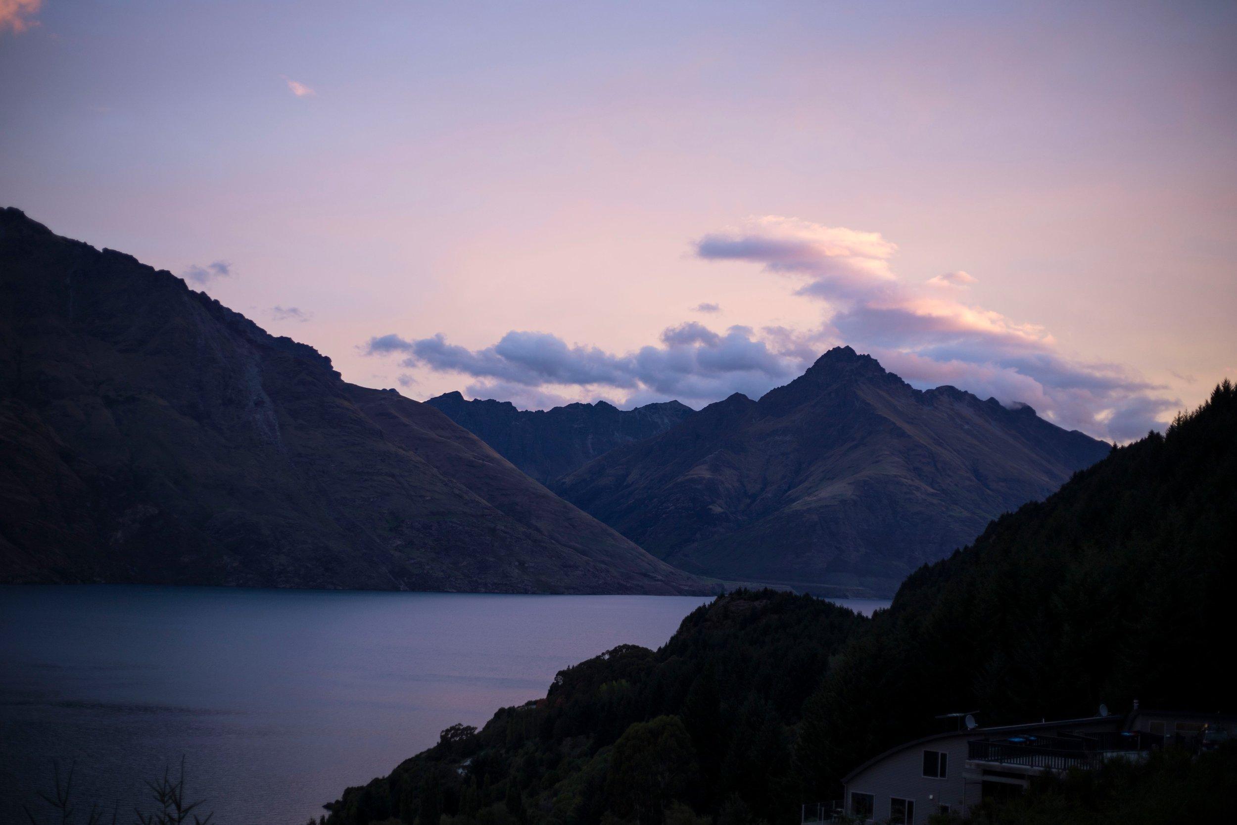 Sunset over Queenstown, New Zealand