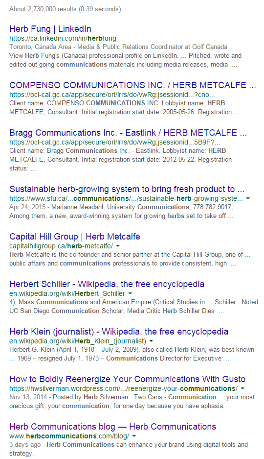 Herb Communications Google ranking