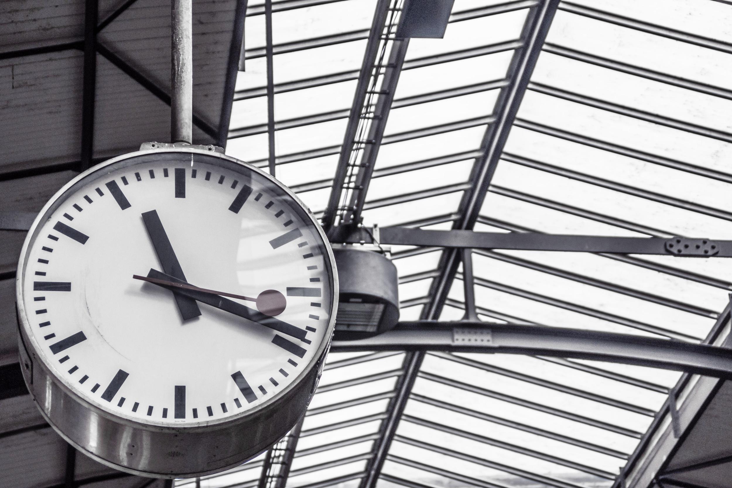 Train station analog clock