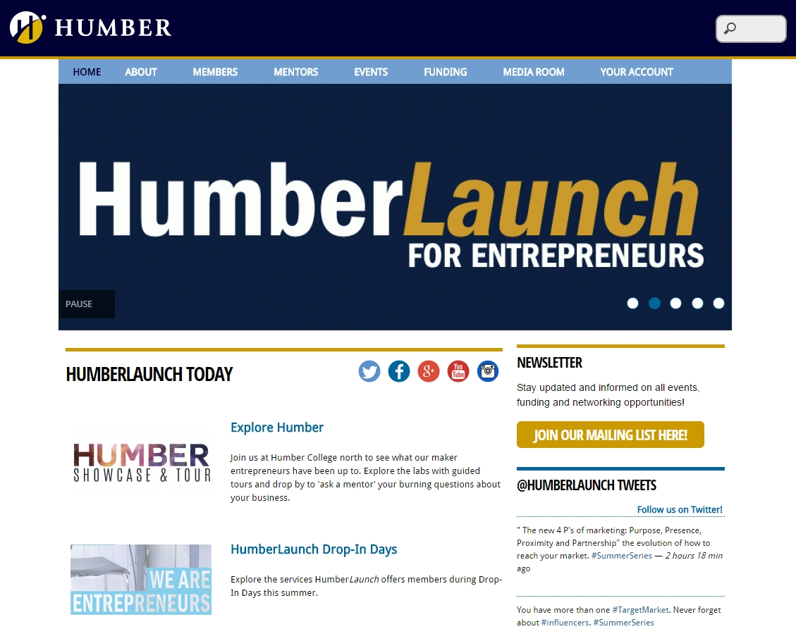 HumberLaunch website