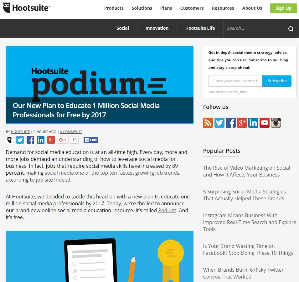 Hootsuite screenshot of Podium