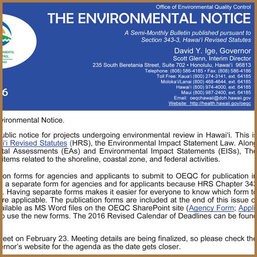 OEQC Bulletin Notice - February 8, 2016