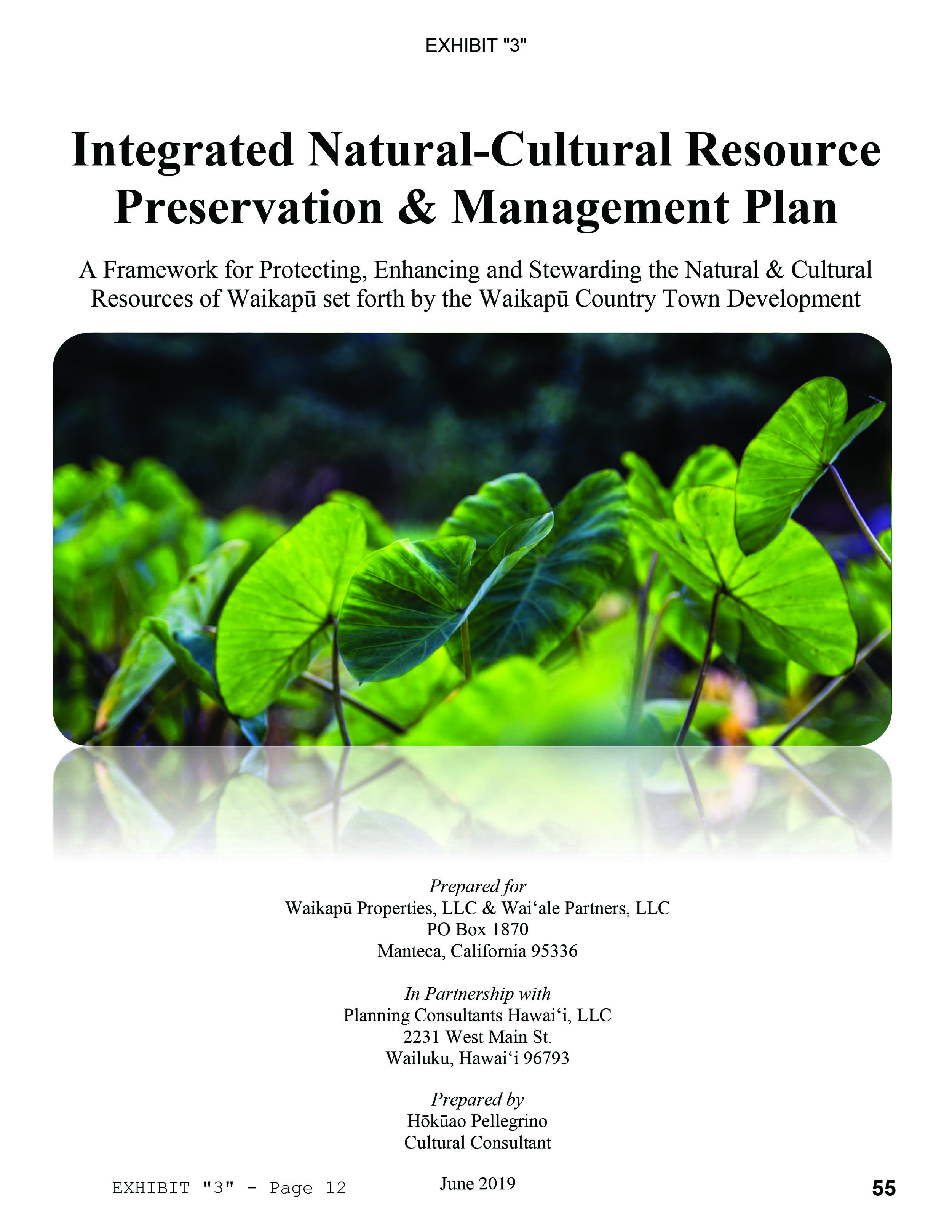 Integrated Natural-Cultural Resource Preservation & Management Plan - August 2019