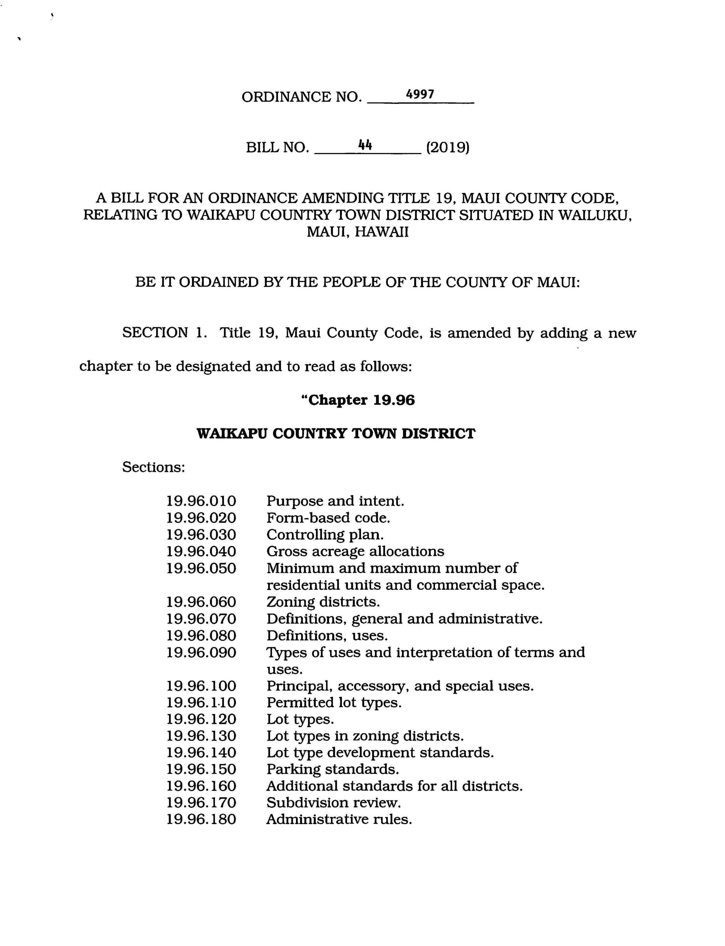 A Bill for an Ordinance Amending Title 19 - October 2019