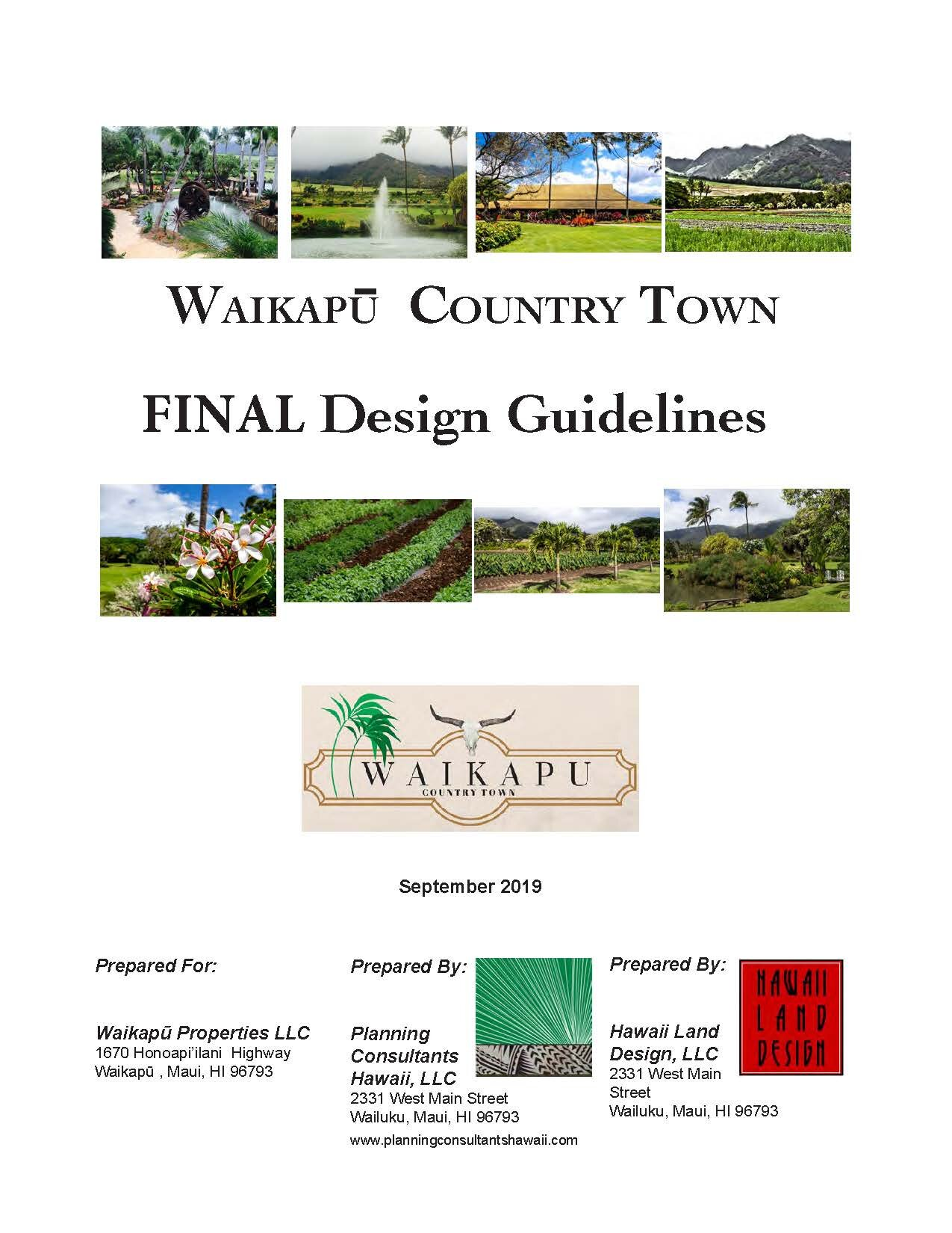 Waikapu Country Town - Final Design Guidelines - September 2019