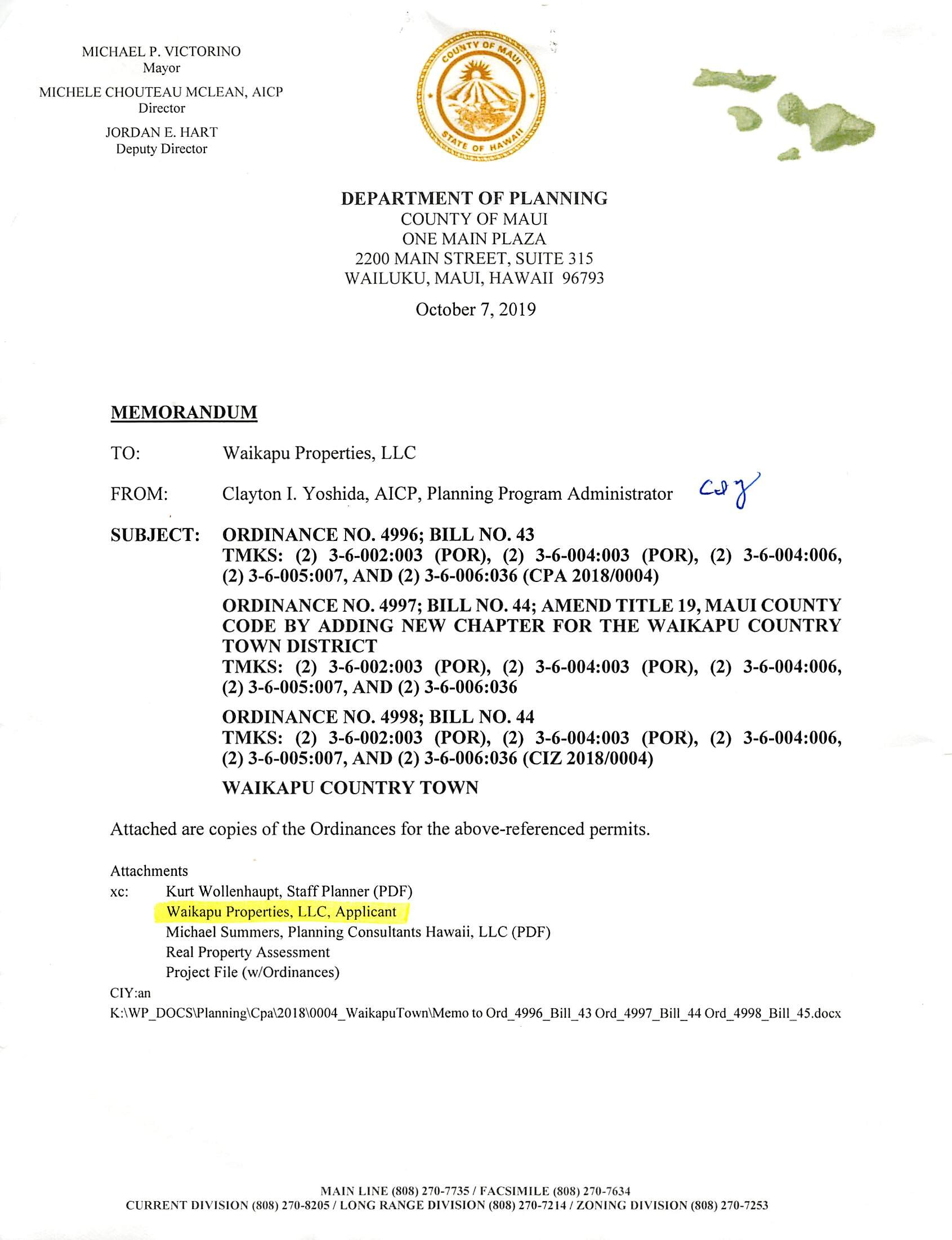 A Bill for an Ordinance to Amend Community Plan and Land Use Map - October 2019