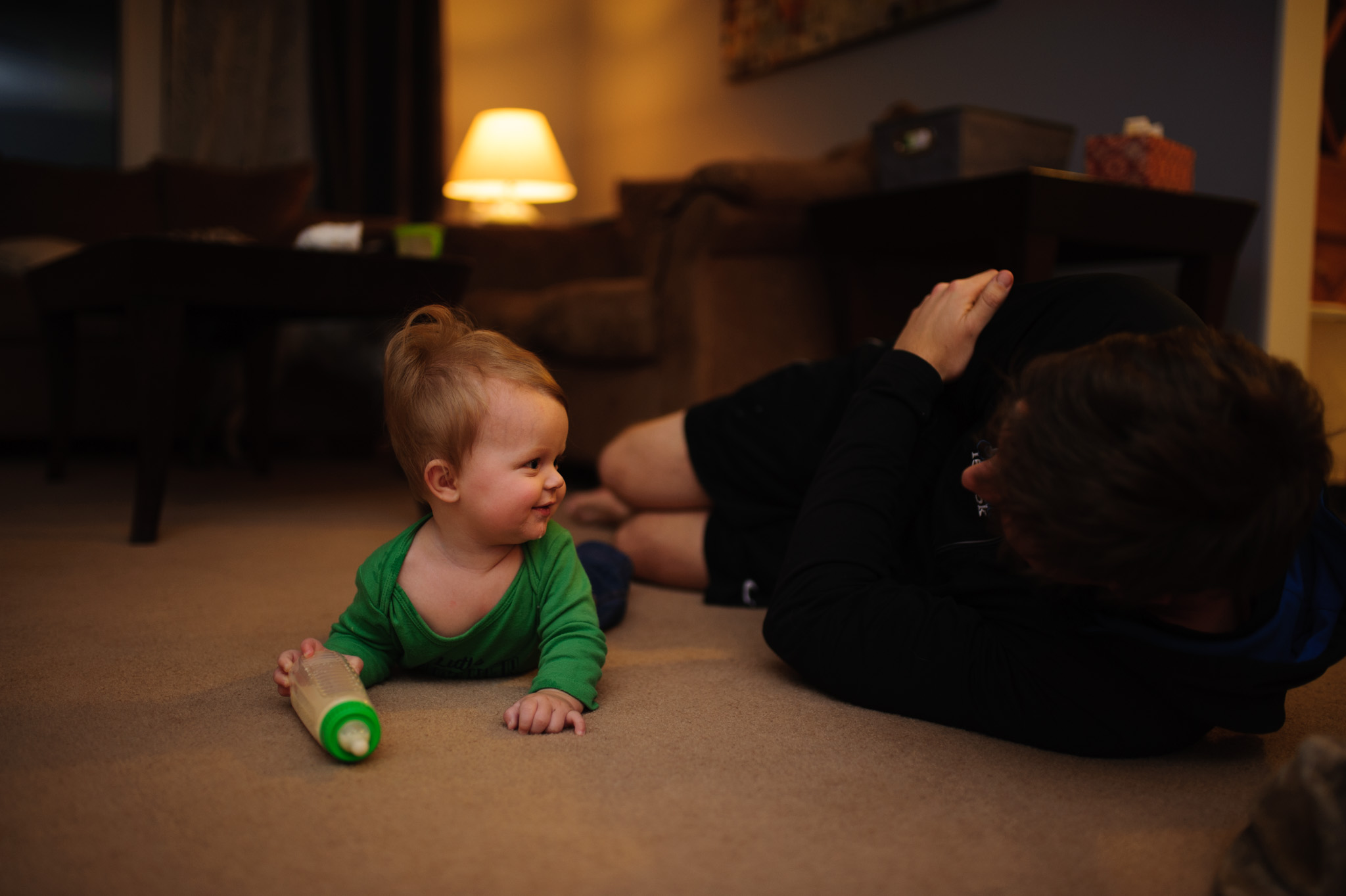 03 Jan 2017 | We spend a lot of time on the floor in the living room after work, getting down on their level. There's not much better than that grin.