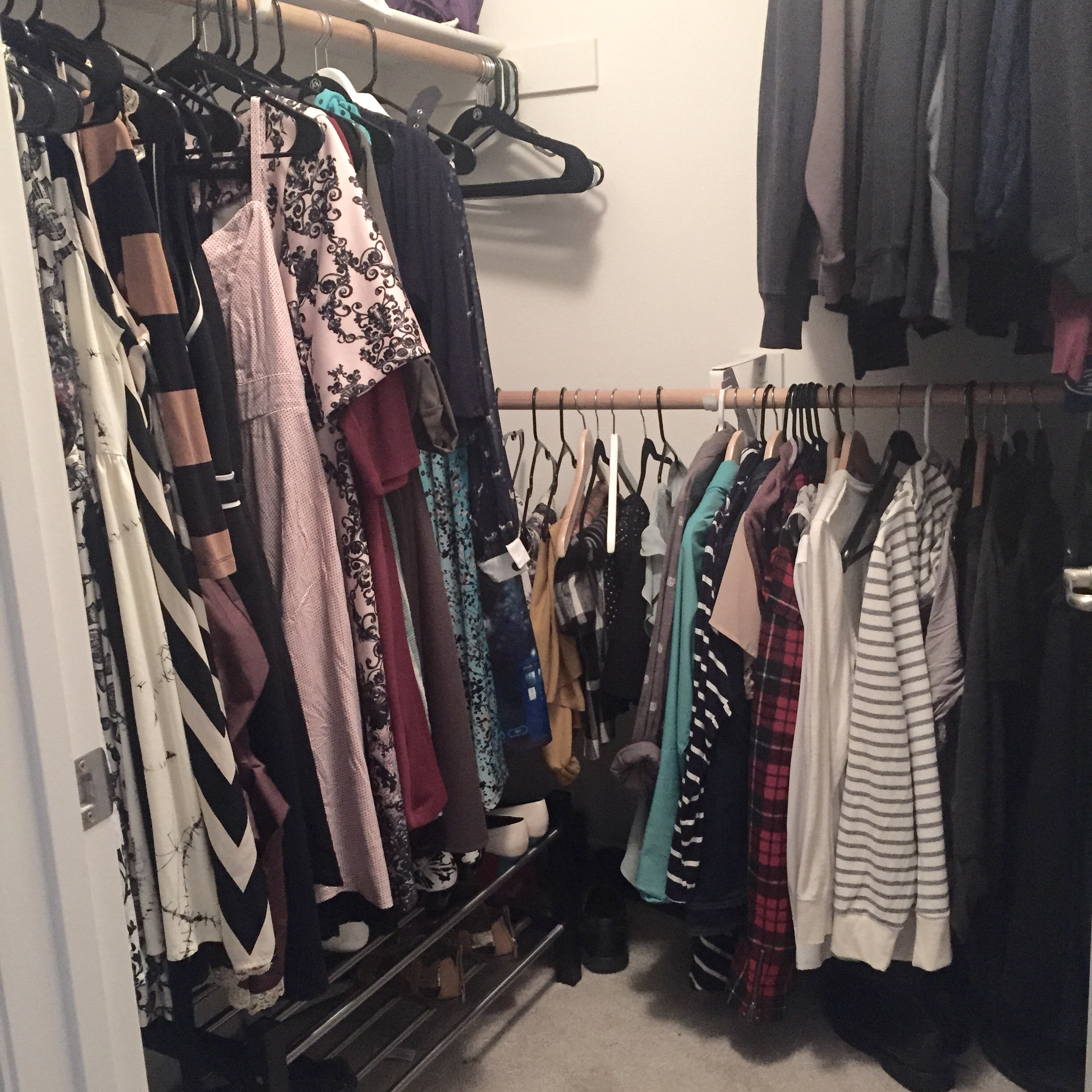 I can see the closet walls for once. It's beautiful.
