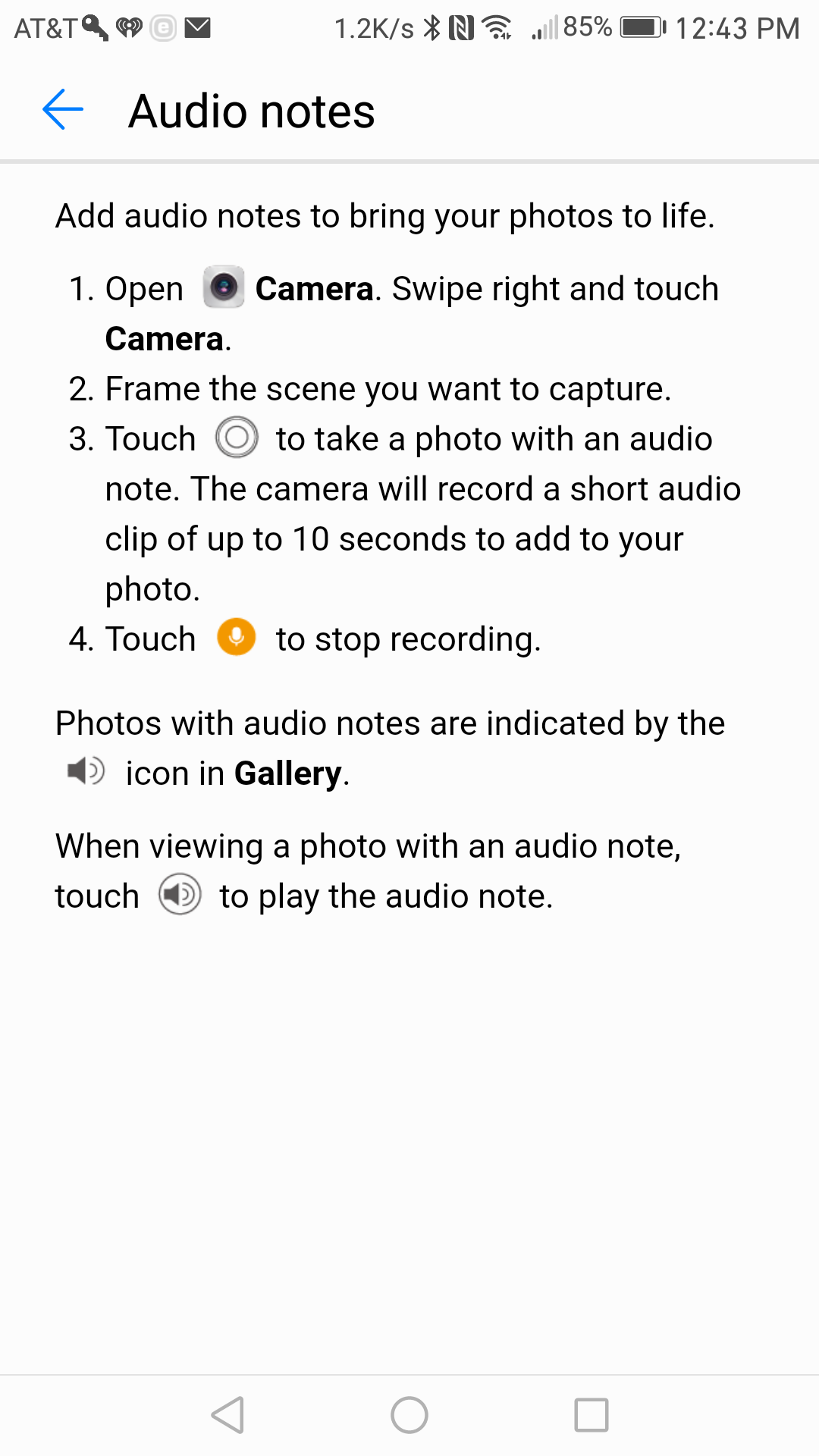 Instructions on adding Audio Notes to your pictures