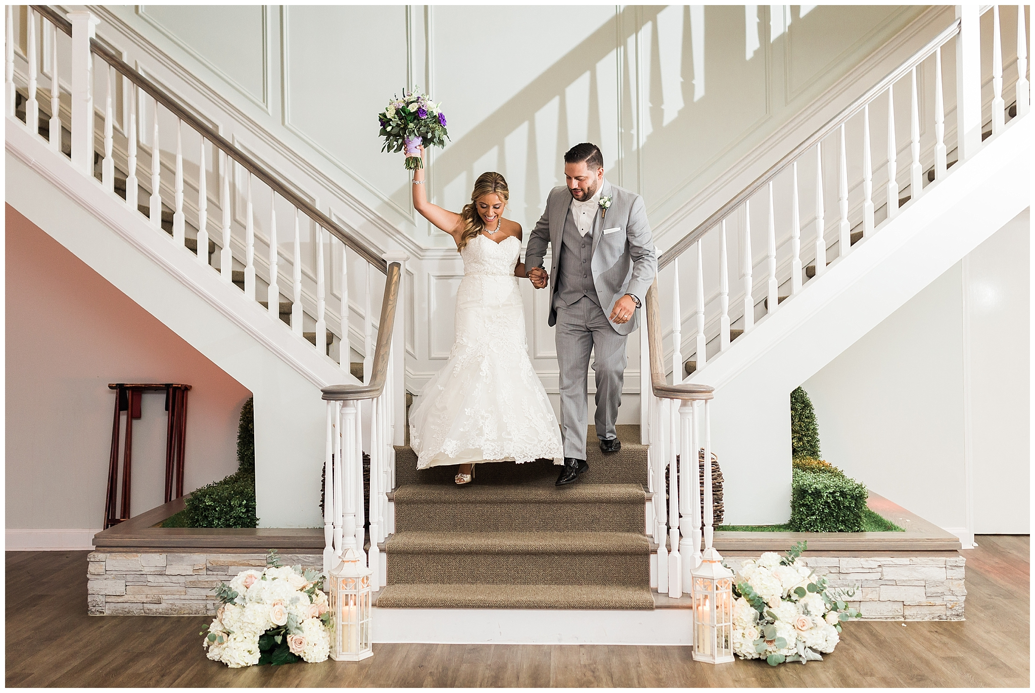 07. This DREAMY staircase entrance. - Jessica and Ricardo — The Vineyards at Aquebogue