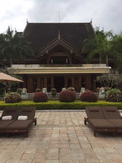 The pool patio of the Anantara Xishuangbanna resort.