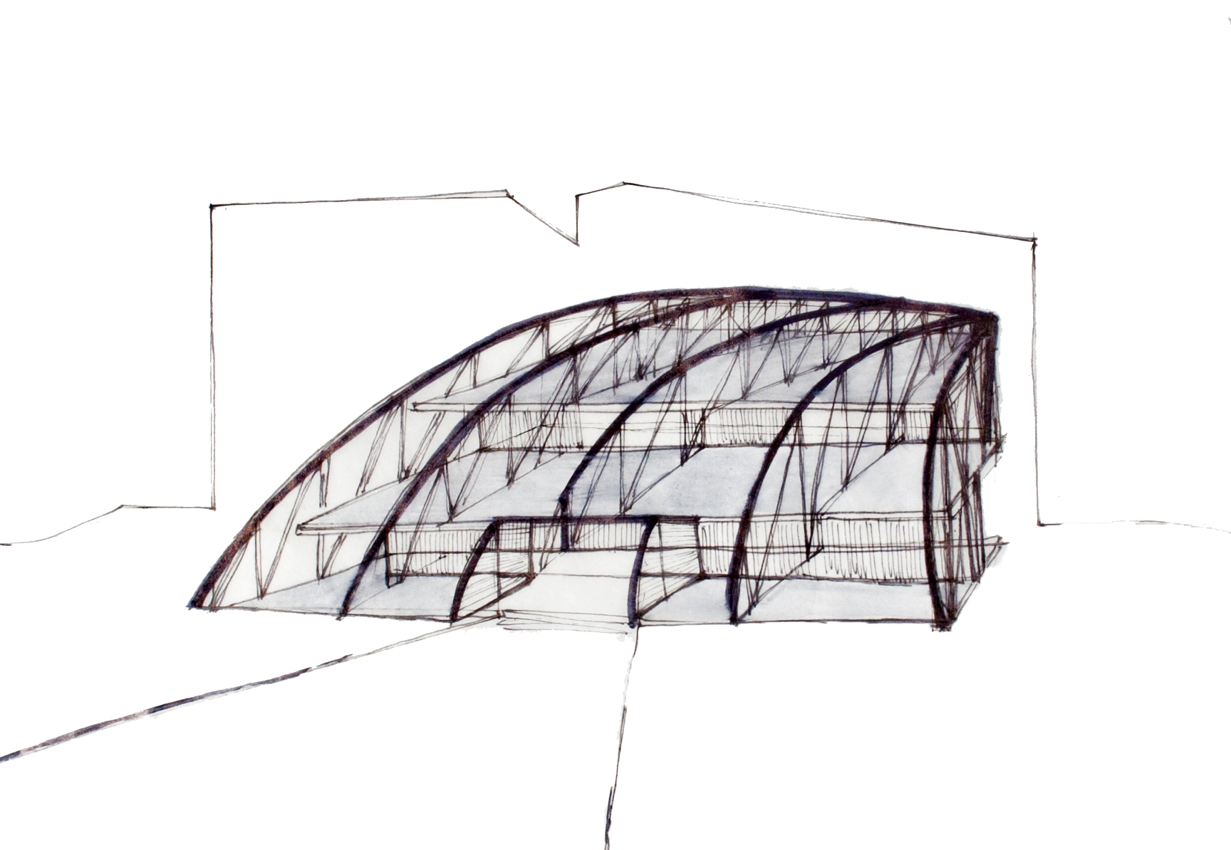 Initial sketch of dining structure and site.