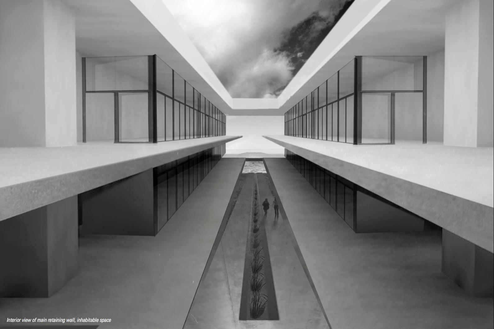 Interior perspective of bio-swale corridor and multi-level inhabitable retaining wall.