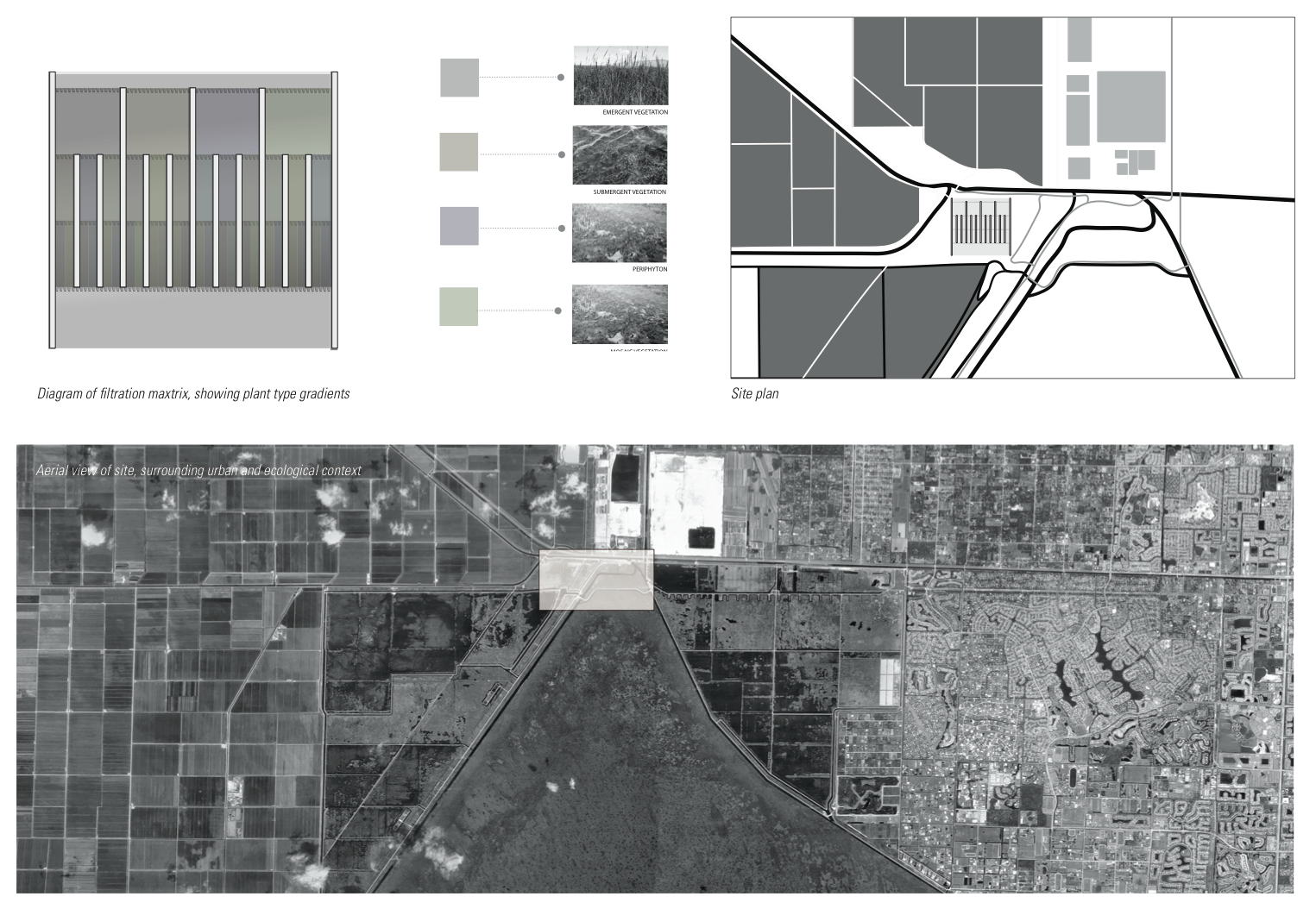 Filtration matrix layout, depicting biological methods and permutations. Site diagram and plan of greater Loxahatchee region.