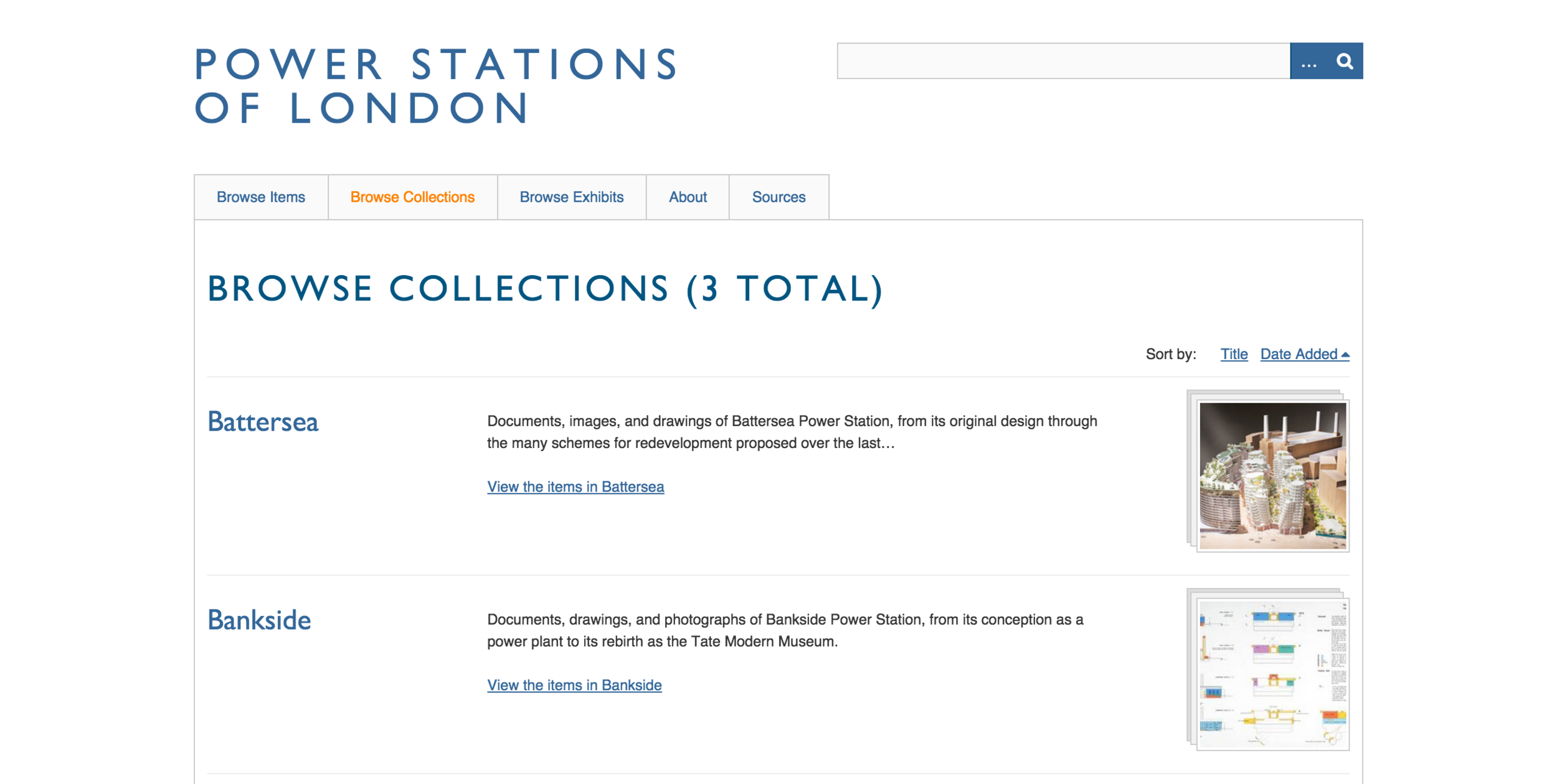 Collections database, sorted via tag, year, and other associated metadata.
