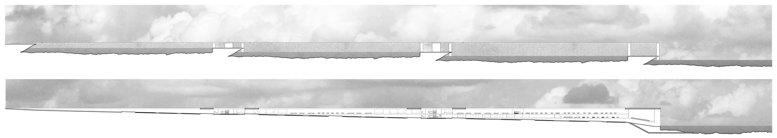 Elevation and section through single inhabitable retaining wall, showing peeling floor plans and mixed-use programming.