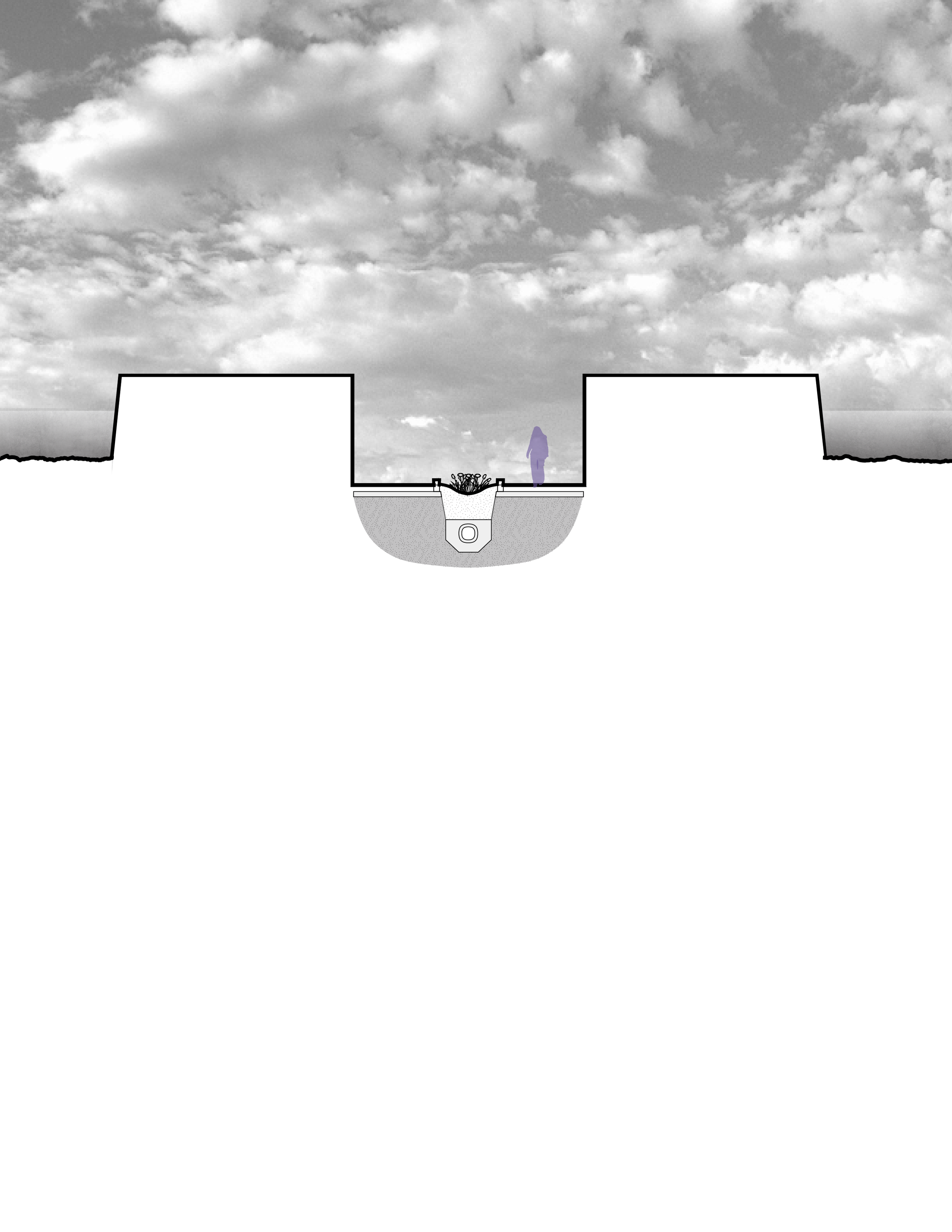 Lateral section through beginning of inhabitable retaining wall, showing start of outdoor bio-swale and retaining walls.