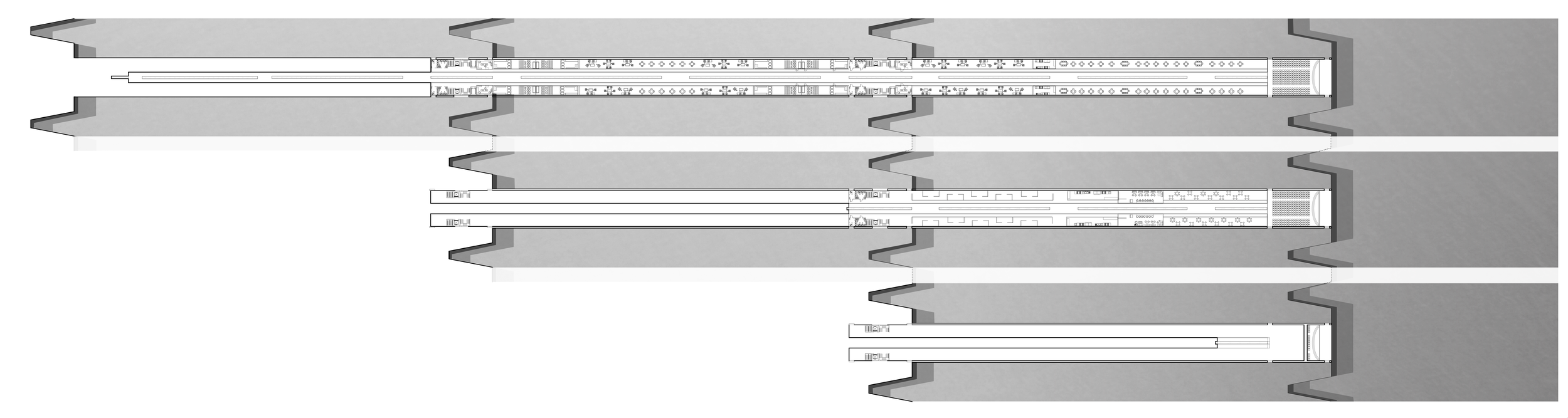 Plans of first, second, and third 'layers' of inhabitable retaining wall, as they peel off from the descending path.