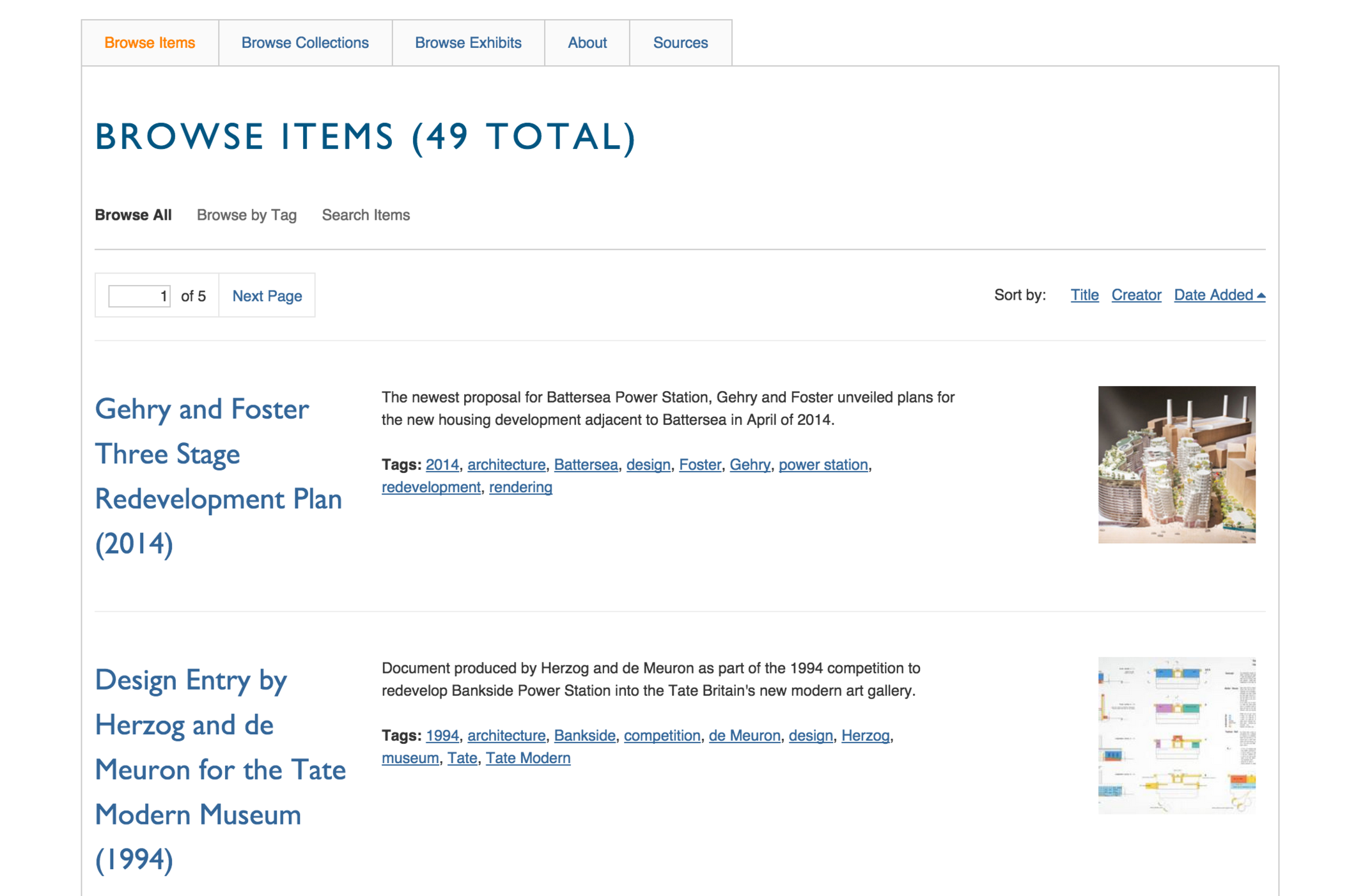 Items database, sortable via collection, tag, year and other associated metadata.