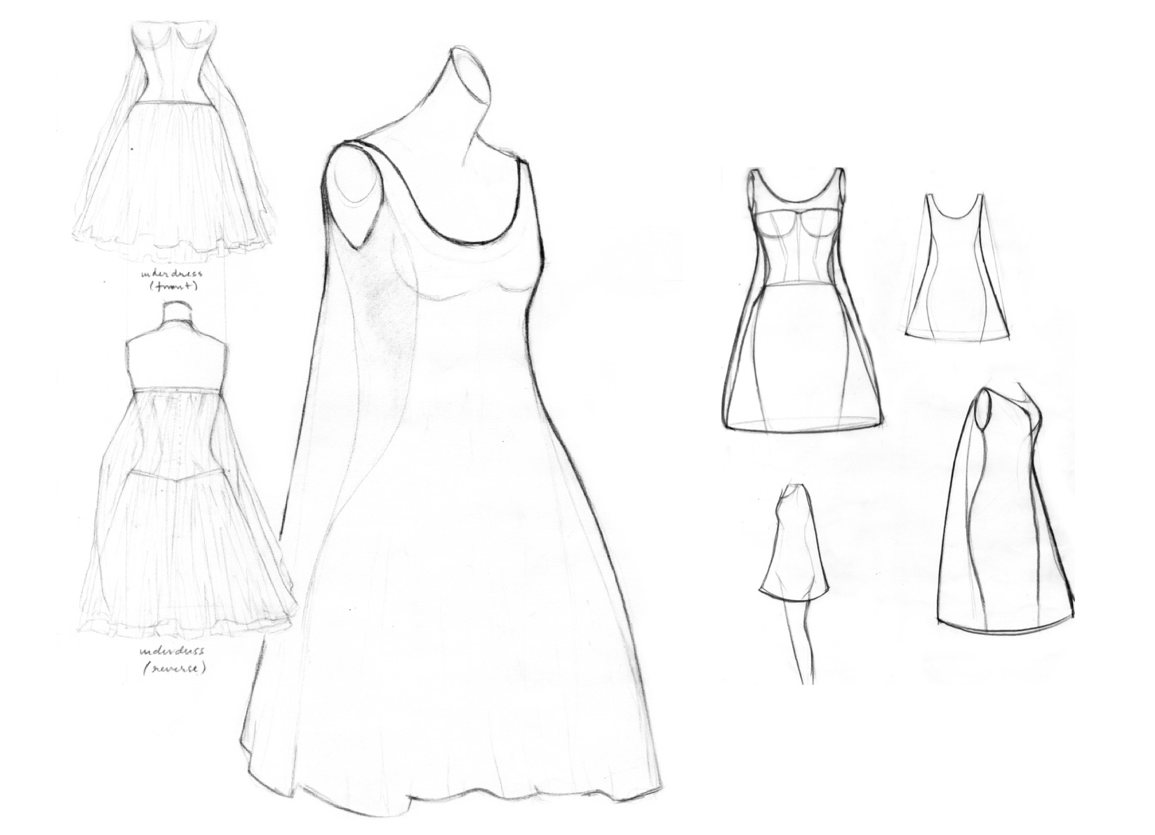 Sketches of inspiration, dress and corset