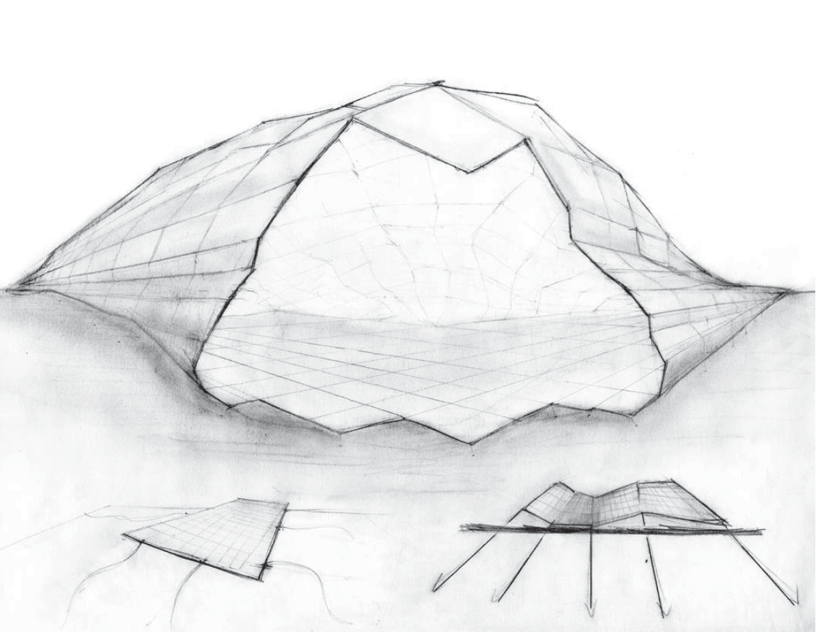Initial pavilion concept drawing, a 'contorted field' controlled by cables.