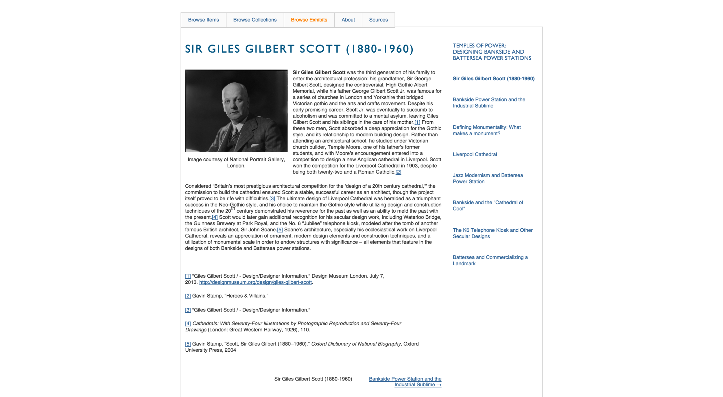 Exhibit chapter on Sir Giles Gilbert Scott, with imbedded image-artifact and sources. Exhibit chapters listed to the side.