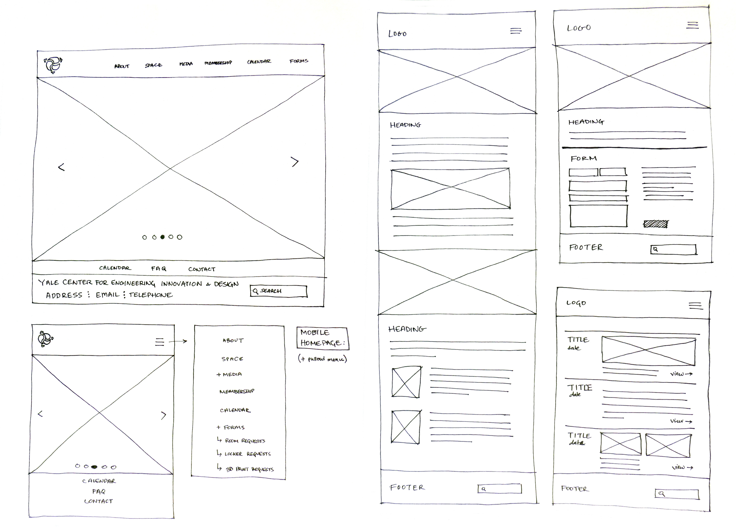 Wireframe sketches (web and mobile)
