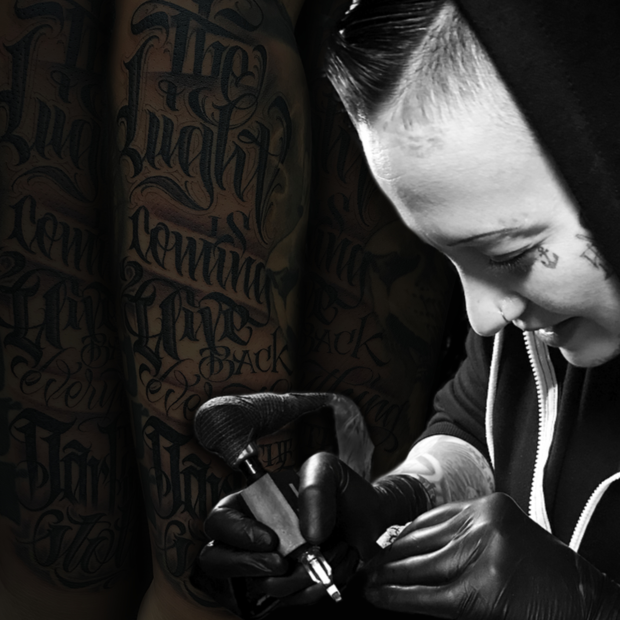 C.J. Quiroz - Years Tattooing: 16Appointment: email Studio@SykoticInk.comPreferred Style: Lettering, Black & Grey