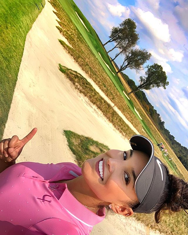 "👉What's the hardest golf course you've ever played!? 😰 I have played a lot of hard golf courses in my lifetime, but nothing came close to the level of difficulty I experienced at Oakmont Country Club last week! 😰 With crazy hard greens that roll at a 16 in the stimp scale (pga tour venues are around 12) putting is a delicate task and it's incredibly difficult to stop the ball on the green! Many times I had to land the ball 20-30 yards before the green to account for the extra roll I was expected to get! 😬 The pins were tucked behind bunkers (there's over 200 of them) and with no trees in sight the wind really plays a role when hitting approach shots into the green! 💨  Ended up in the famous ""church pew"" bunker in the 3rd hole and had to take a selfie to share this moment with my IG fam! 😂 Thankfully I was able to hit it right out but still ended up making a double bogey 🤷‍♀️ In summary, Oakmont kicked my butt but getting to experience such an iconic golf course was an incredible experience! 😎"