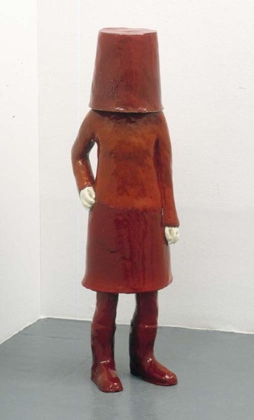 """Red Head II"" 2006  Stoneware / Céramique  46 1/2 x 13 3/4 x 10 1/4 Inches / 118 x 35 x 26 cm Unique"