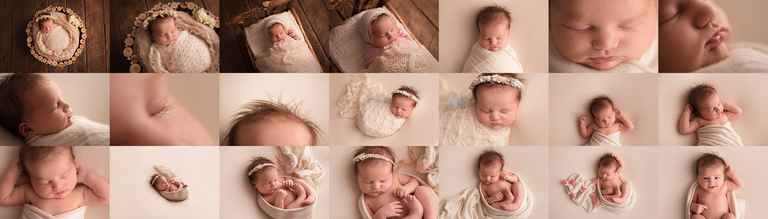 Sneak peak of the resulting images from my Stress-Free Sleepy Baby Workflow.