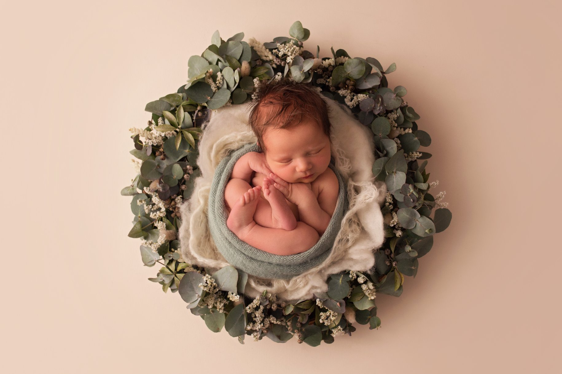 Hazel and Cass newborn flower wreath
