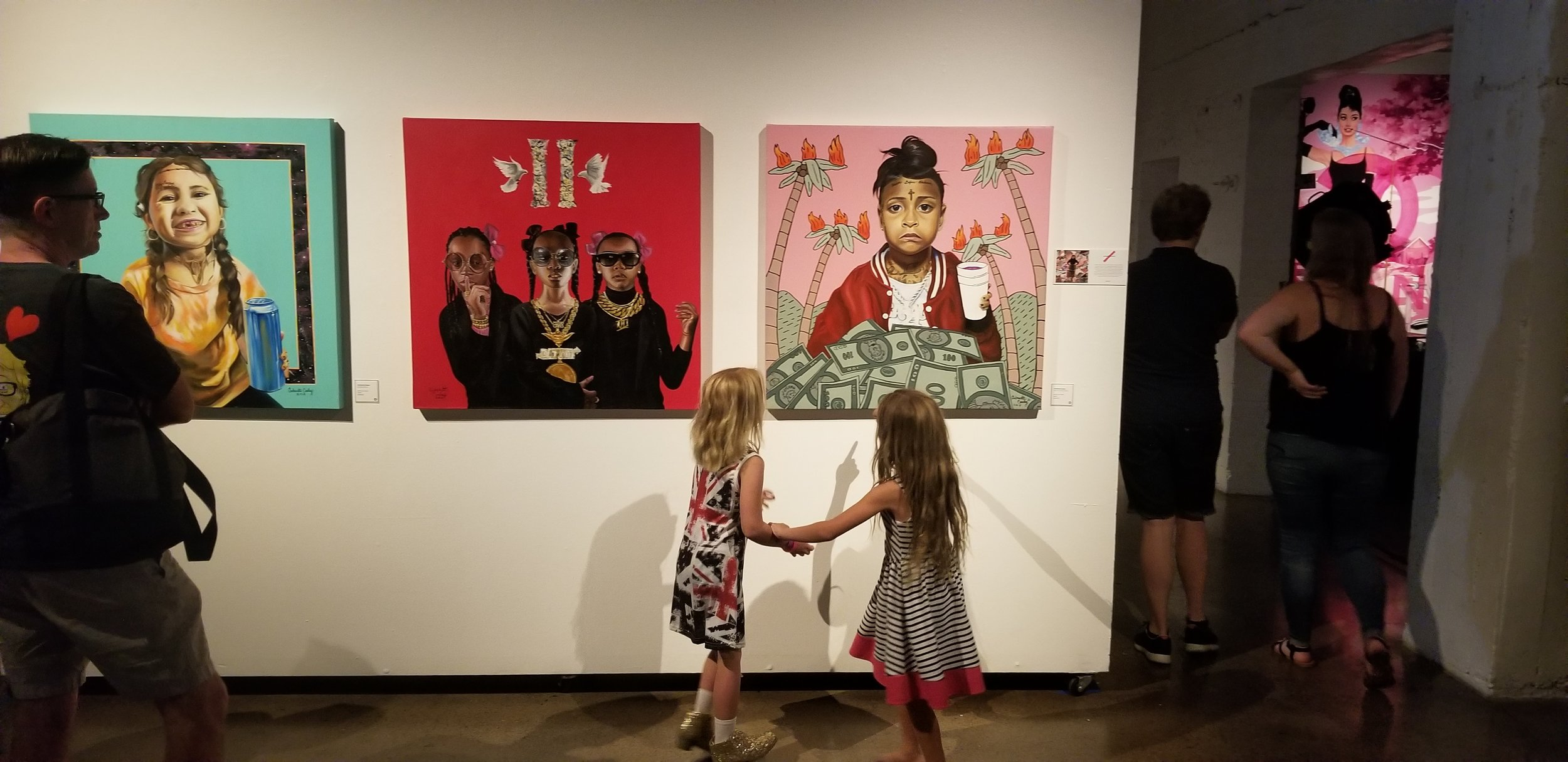 """The opening nght of """"The Coterie Exhibition"""" at the monOrchid. This exhibition features selected works from all seven of the monOrchids represented artists and is open to the public through Sptember 7th 2018."""