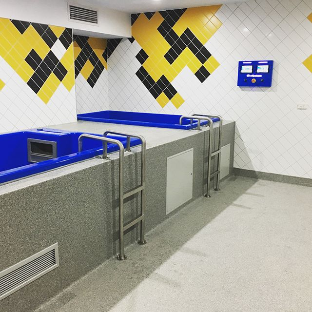 Werribee Football Club Spa recovery room completed. Was great to finish the last piece of the puzzles at such a professional set up #vfl #werribee #werribeefootballclub #construction #spa #recovery #tile #stainlesssteel