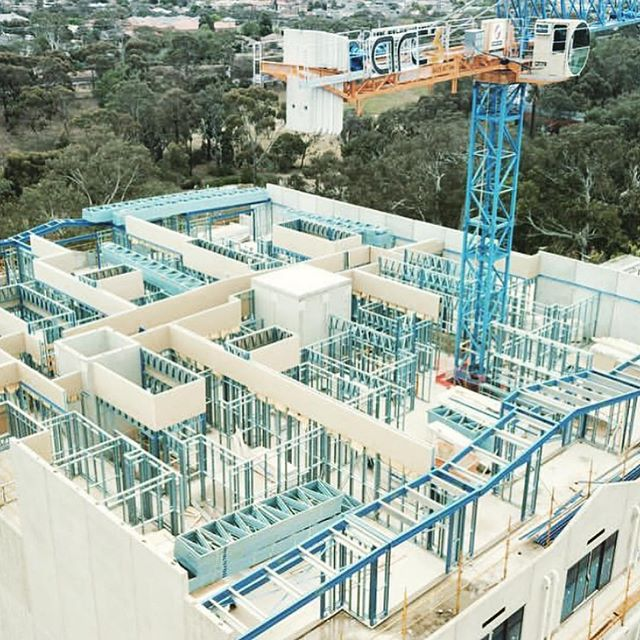 Birds eye view of Watton St Rivière Development Progress photos. #apartmentliving #apartments #apartment #construction #development #steel #concrete #views #birdseyeview #crane #madok