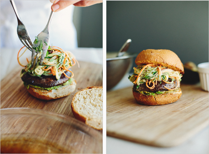 mushroom burgers with asian slaw . sprouted kitchen