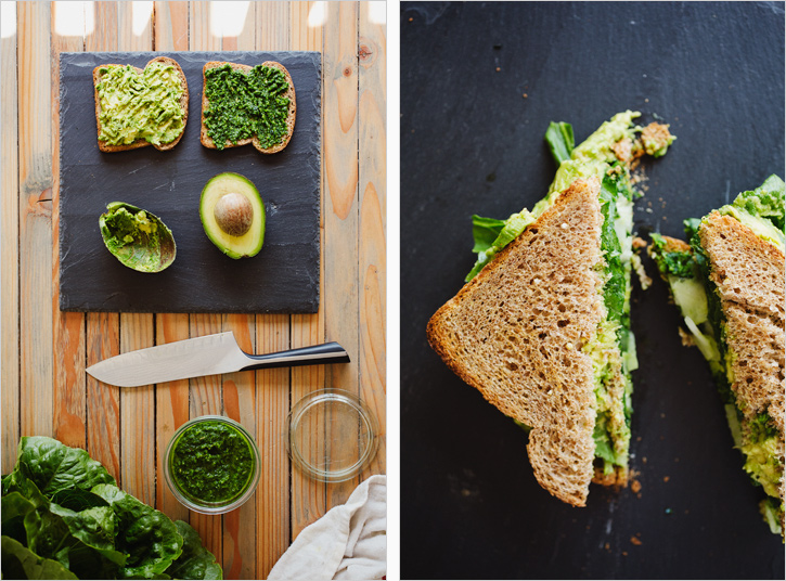 Avacado Sandwich with Green Harissa . Sprouted Kitchen