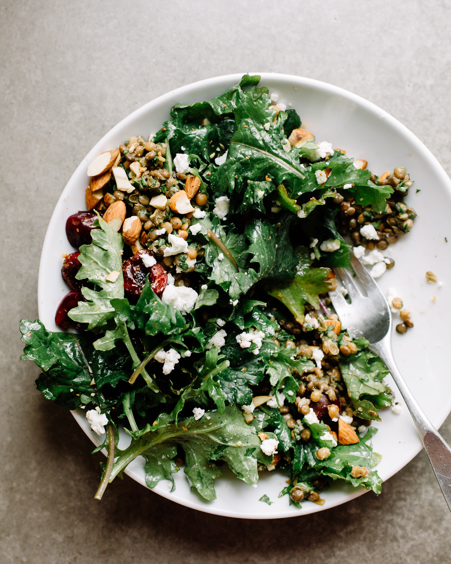 Cherry & Lentil Baby Kale Salad . Sprouted Kitchen