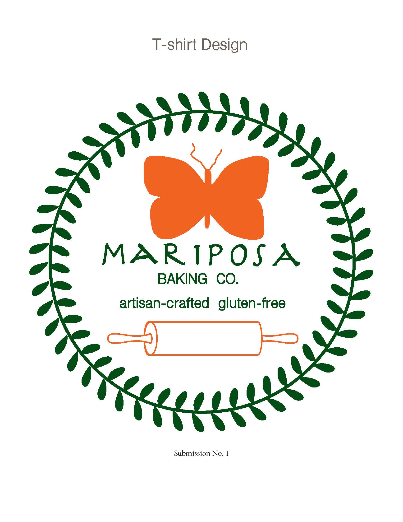 T-shirt design submission for Mariposa Bakery, Oakland, CA