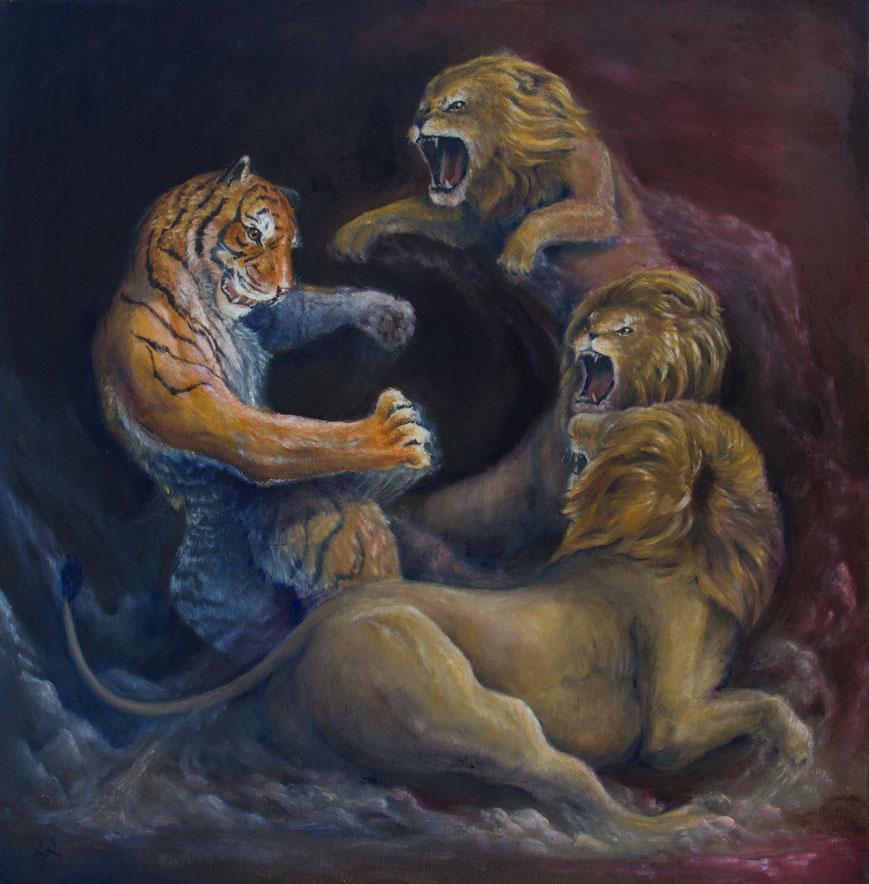 """Crouching Tiger, Hidden Dragon"" 2015  oil on canvas  20""x20"""