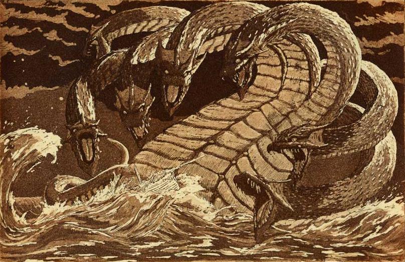 """Seven-headed Dragon""  9"" x 6""  aquatinted etching"