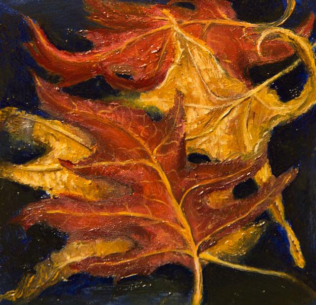 """Leaf Study"" 2016  oil on gessoed paper  2.5""x2.75""  SOLD"
